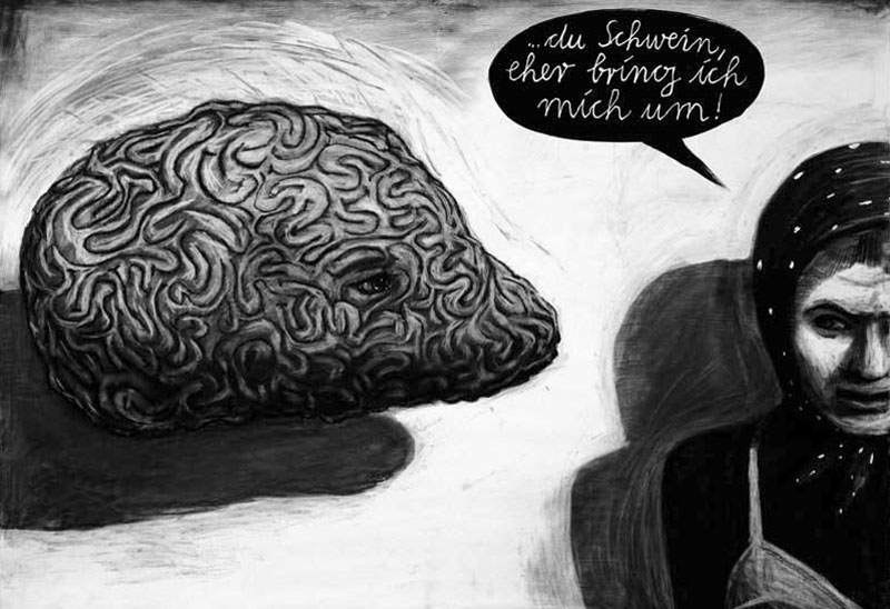 Anke Feuchtenberger, wehwehweh.superträne.de,Kohlezeichnung