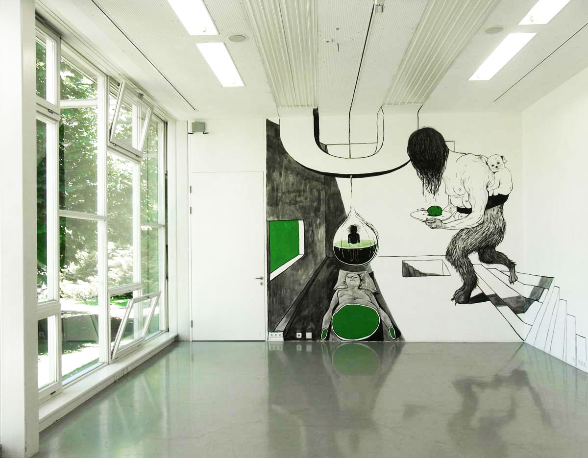 Anke Feuchtenberger, site specifique drawing,Graz
