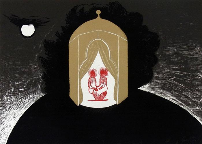 Melancholisches Gesicht/ serigraphy